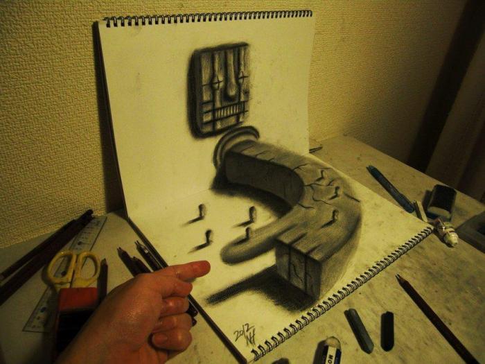 3D рисунки на листах бумаги