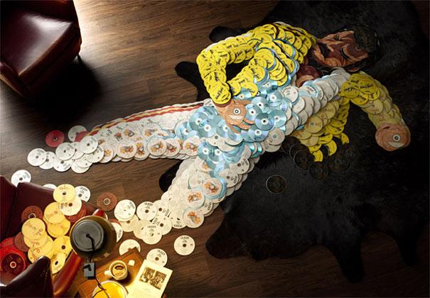 Портреты музыкантов выложили из дисков