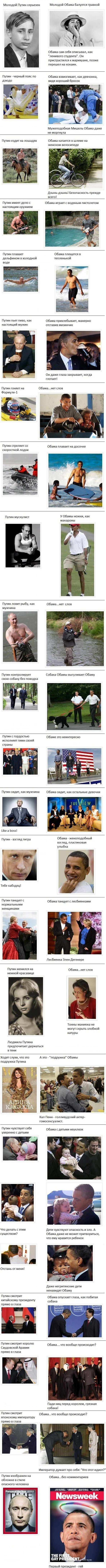 Американцы сравнили Путина и Обаму