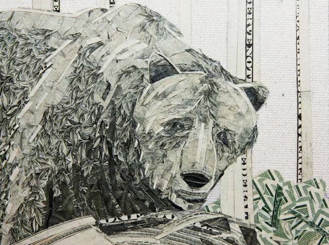 Однодолларовые коллажи побед бумаги над человечеством