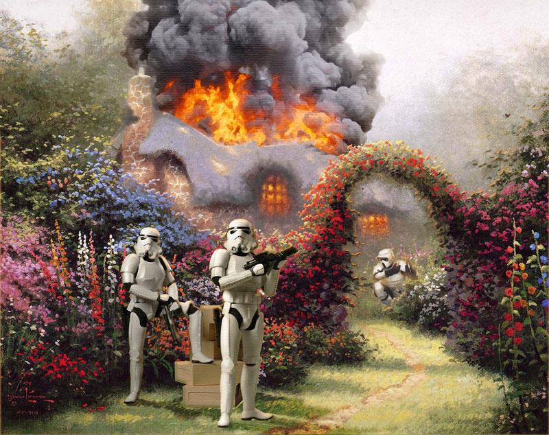 Художник добавляет фигуры Звездных войн в пейзажи