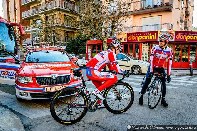 Российская велокоманда Катюша на сборах