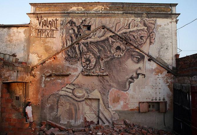 Разноплановые уличные рисунки от Violant