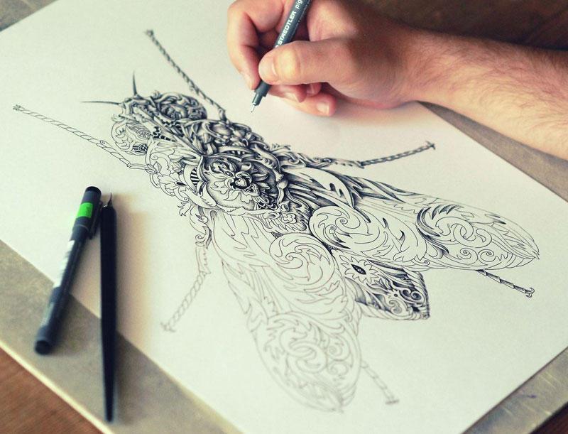 Невероятно сложные чернильные иллюстрации Алекса Конахина