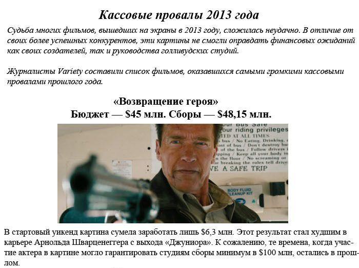 Самые провальные фильмы 2013