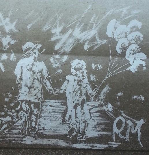 Графитти на грязном белом фургоне