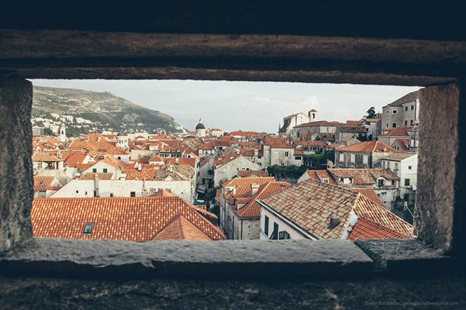 Древний городу в Хорватии с высоты птичьего полёта