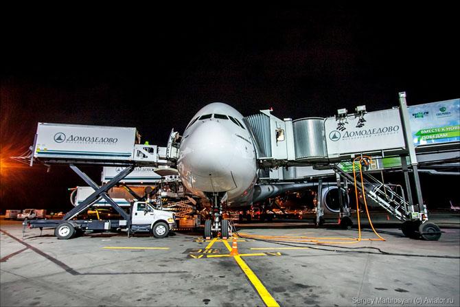 Как обслуживают самый большой пассажирский самолет в Домодедово
