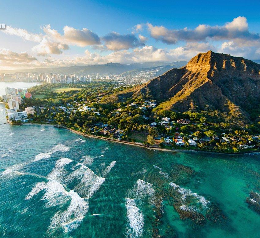 Гавайские острова с высоты птичьего полёта