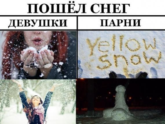 Пошел снег