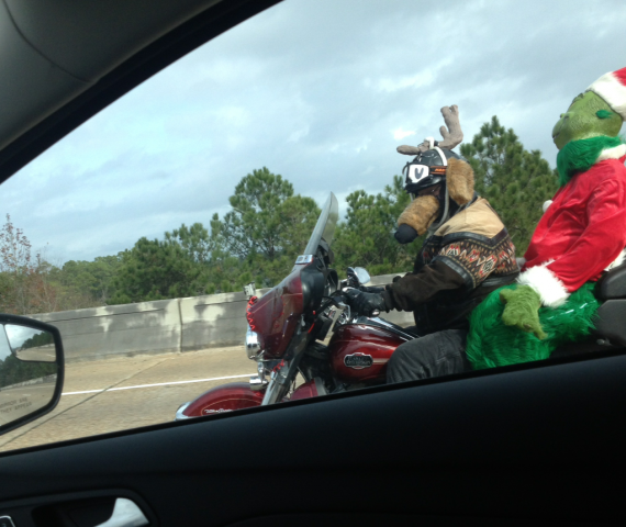Олень и Гринч на мотоцикле