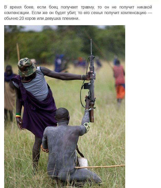 Испытание мужчин племени Сурма в Эфиопии
