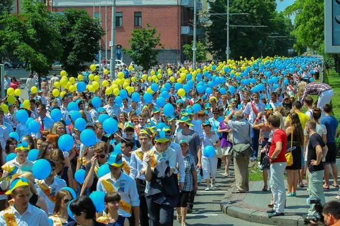 Запуск шаров школьниками в Днепропетровске (29 фото)