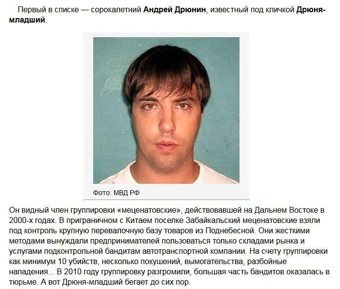 Топ 10 разыскиваемых преступников России