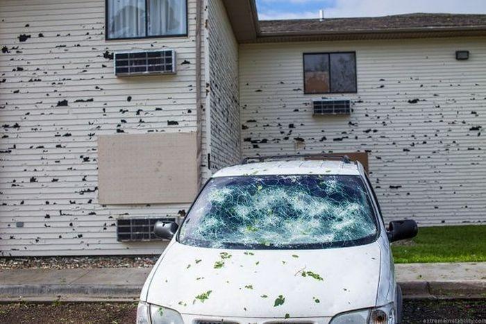 Последствия града в штате Небраска (23 фото)
