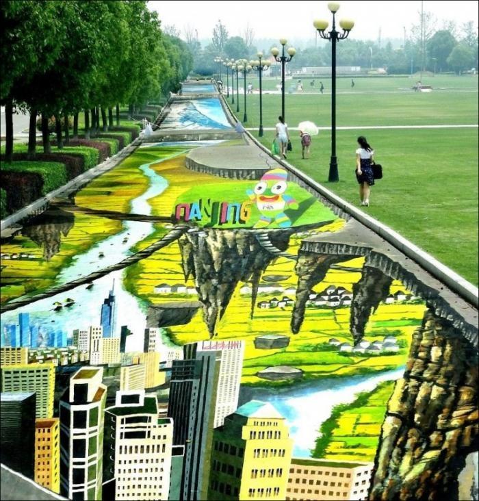 Самый большой 3D рисунок на асфальте (5 фото)