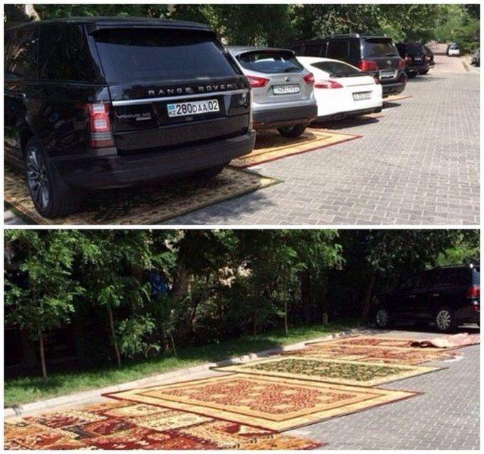 Ковровая парковка для гостей ресторана в Казахстане(4 фото)