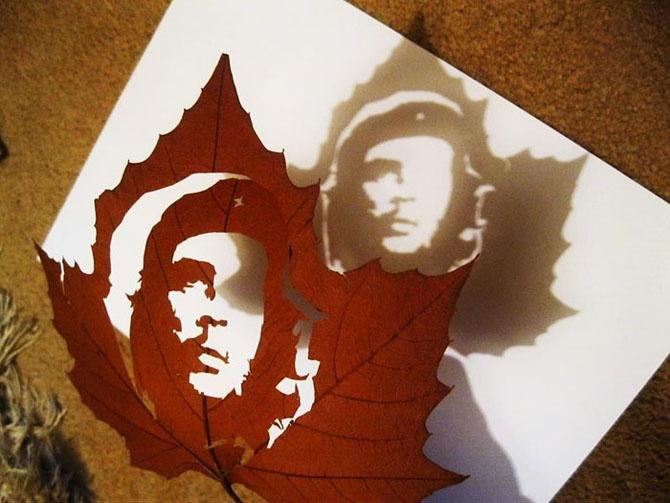 """Потрясающие """"картины"""", вырезанные из обычных опавших листьев (14 фото)"""