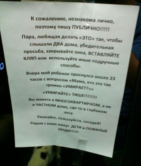 Смешные объявления в подъездах (28 фото)