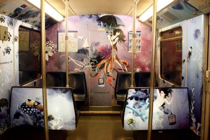 Красивые рисунки в метро (9 фото)