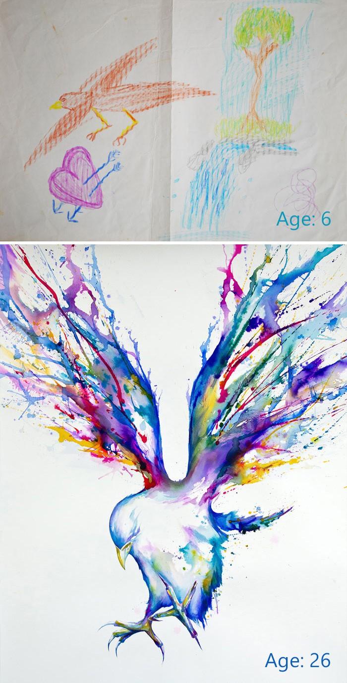 Художниками не рождаются: 25 пар рисунков до и после упорных занятий