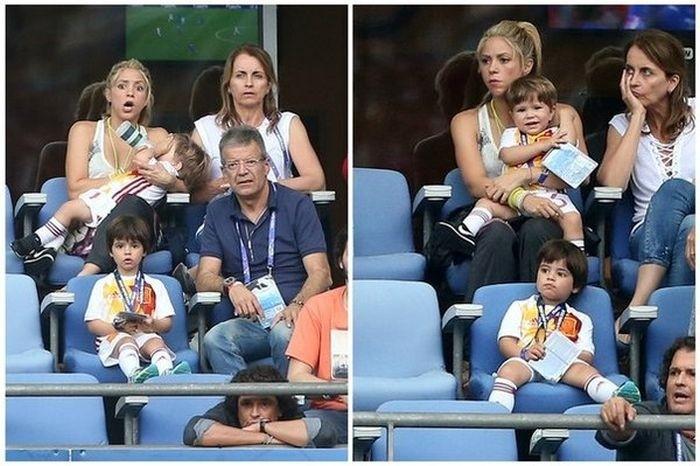 Шакира наблюдает за игрой своего супруга Жерара Пике