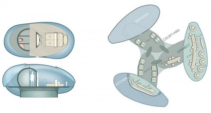 Отель будущего с летающими комнатами