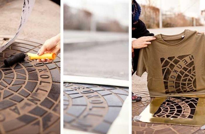 Художники печатают принты на футболках с помощью канализационных люков