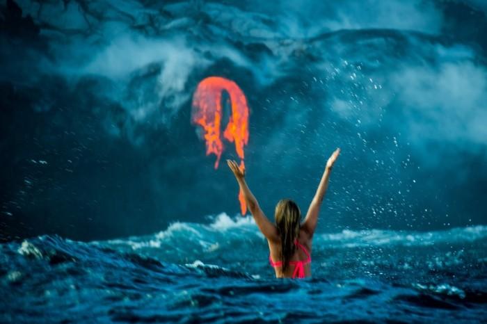 Экстремальное плавание в океане с лавой на Гавайях