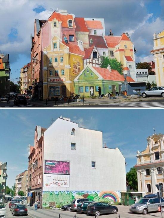Как уличные художники преображают здания