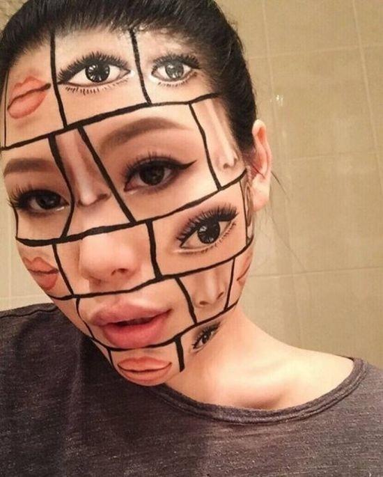Зрелищные иллюзии на лице девушки-визажиста