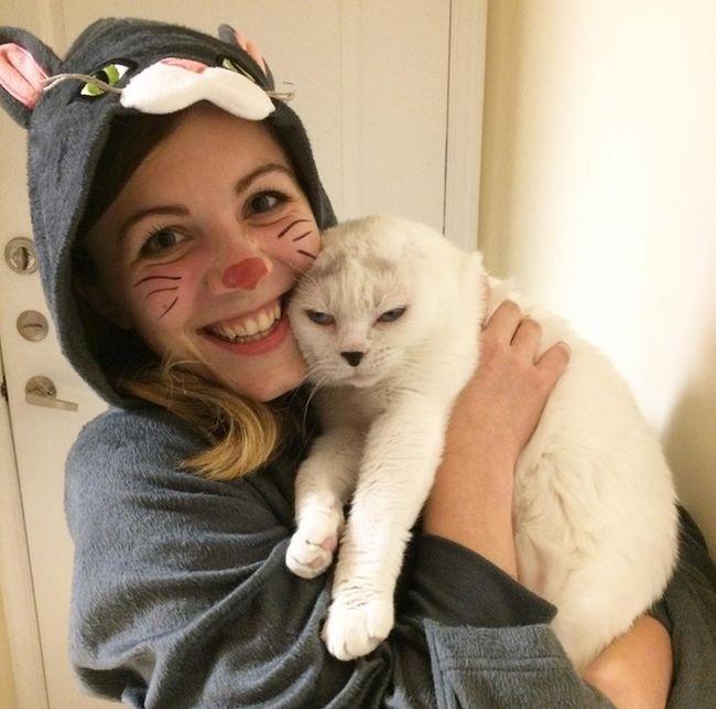 Безухий кот обрел любящую хозяйку
