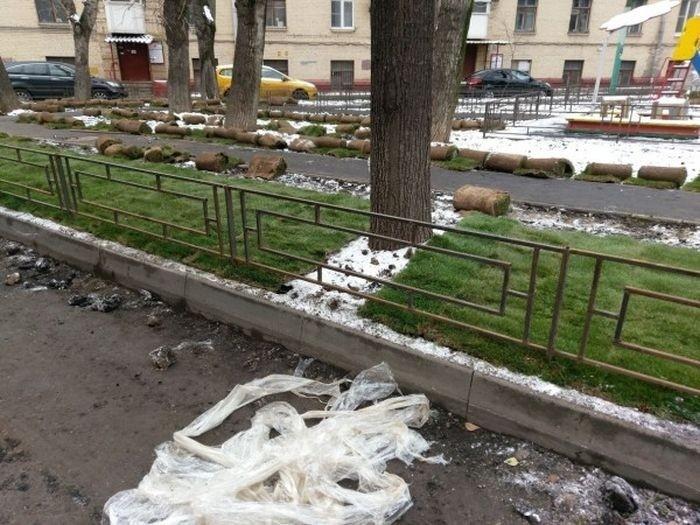 Если асфальт можно класть на снег, то газон - и подавно