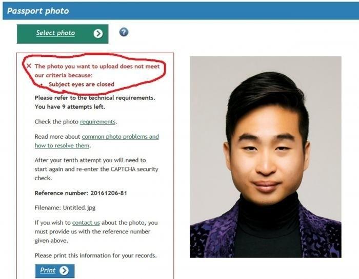 В Новой Зеландии паспортный робот посчитал, что у азиата на фото закрыты глаза