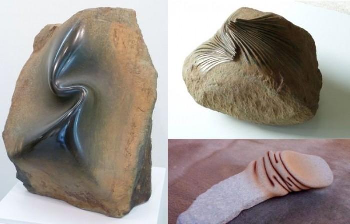 Художник превращает камни в мятую ткань