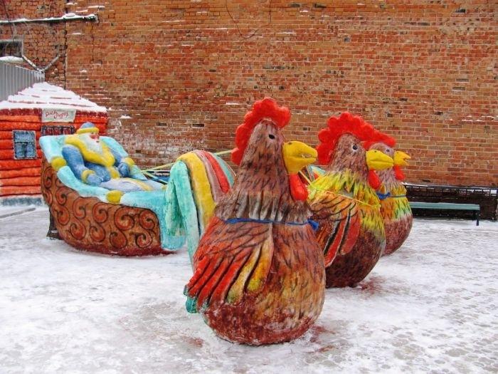 Снежные и ледяные скульптуры российских заключенных