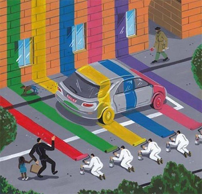 Проблемы современного общества в рисунках Брехта Ванденбрука