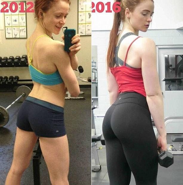 Девушка до и после занятий в тренажерном зале