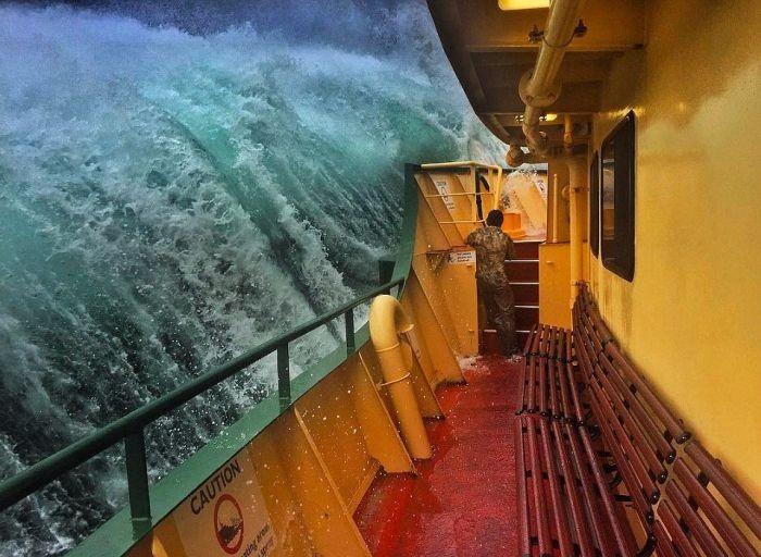 Сильные волны в гавани Сиднея (8 фото)