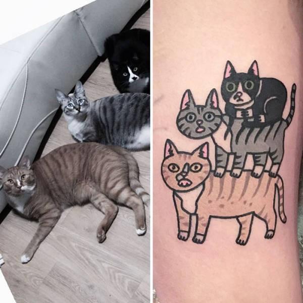 Татуировки с изображением домашних питомцев (35 фото)