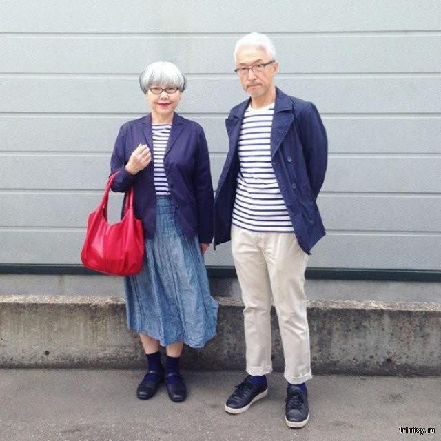 Стильная пожилая пара из Японии (6 фото)