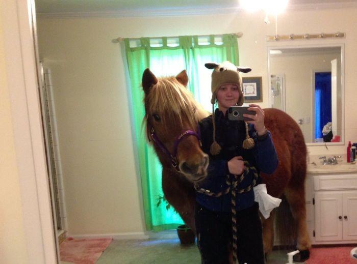 Девушка провела лошадь в родительскую спальню ради селфи (3 фото)