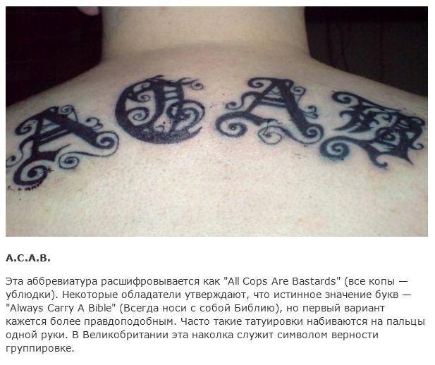 Значения заграничных тюремных тату (15 фото)
