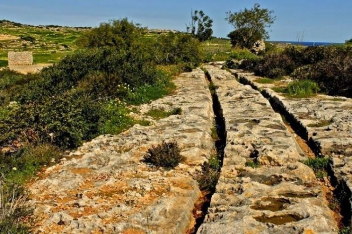 Загадочные следы от колес в Мальте (6 фото)