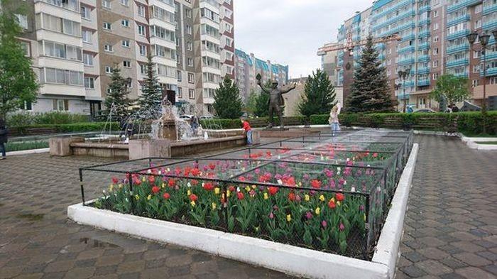 Антивандальные клумбы Красноярска (2 фото)