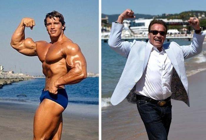 Арнольд Шварценеггер на пляже в Каннах 40 лет спустя (4 фото)