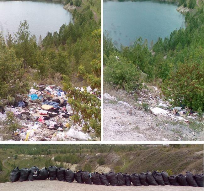 Чисто МЭН вывез 28 мешков мусора с карьера города Копейск (2 фото)