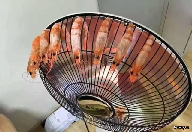 Креативный способ приготовления жареных креветок (4 фото)