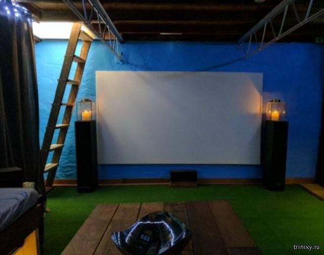 Кинотеатр в подвале дома (8 фото)