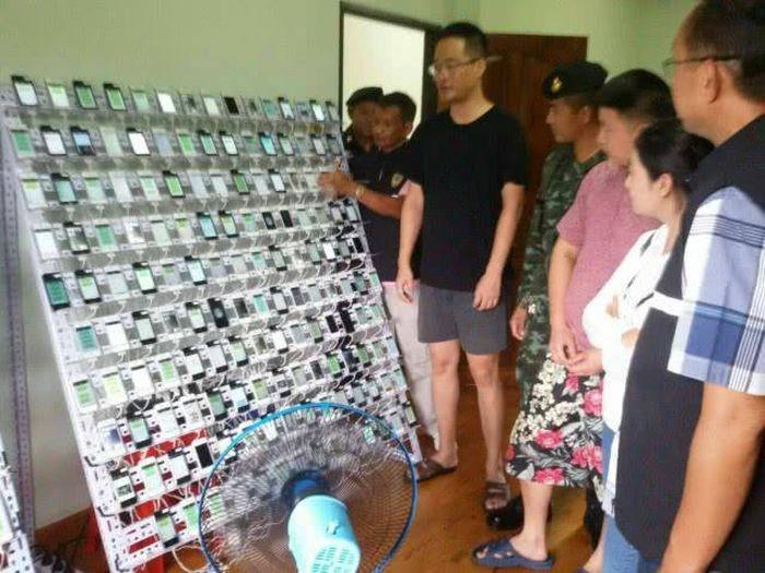 В Таиланде закрыли ферму по накрутке кликов в социальной сети WeChat (5 фото)